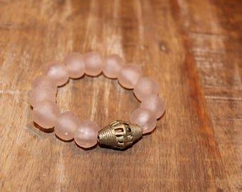 Light Pink Recycled Glass Beaded Stretch Bracelet