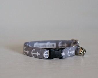 Cat Collar-Breakaway Cat Collar-Anchors Cat Collar-Nautical Cat Collar-Grey Cat Collar-Cute Cat Collar-Boy Cat Collar-Girl Cat Collar
