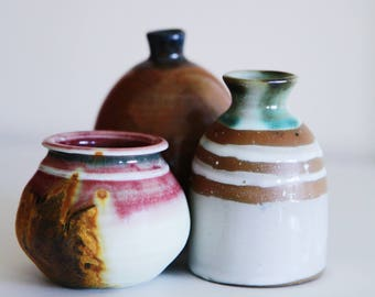 Set of 3 Hand Made Pottery Mini Vases