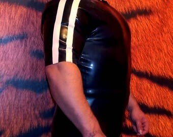 LATEX t shirt top with racing stripe detail