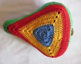 Saddle cover is BRIGHTLY coloured seat saver saddle cover handmade crochet