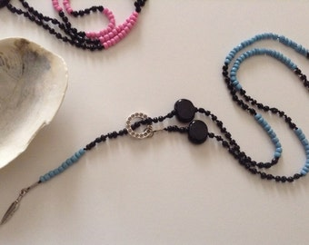 Beaded Blue & Black Feather Long Necklace