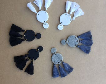 Clay Stud - Cotton Tassel Earrings / more colours available