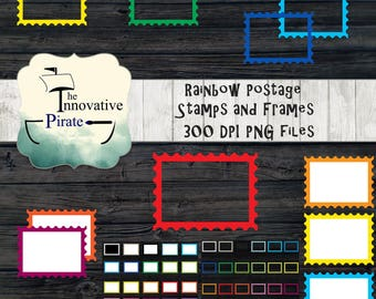 Rainbow Postage Stamps and Frames Clipart pack - Postage stamp frames - Postage stamps favor tags - cupcake toppers - stamp clip art- office
