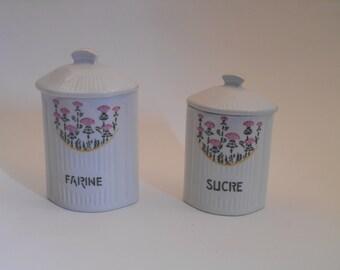 Vintage French Kitchen Storage Jars with Lids