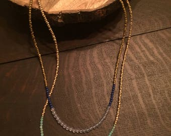 Navy multi-strand beaded necklace