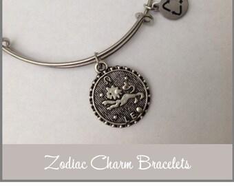 ZODIAC Charm Bracelet, Stainless Expandable Bangle, Aries, Libra, Cancer, Scorpio, Virgo, Taurus, Capricorn, Aquarius, Pisces