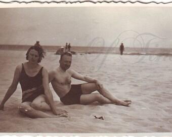 Vintage Photo - Summer Time - Couple on the Beach - Beach Fashion - Best Friends - Vintage Snapshot - Polish Photo - 1930s photo