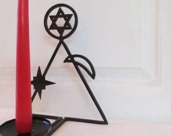 Metal Candlestick Star of David Metal Candle Holder Metal Gift Housewarming Gift Home Décor Metal Art