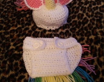 baby unicorn hat and nappy cover