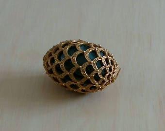 Vintage Designer Mosell Filigree Egg Sewing Kit.