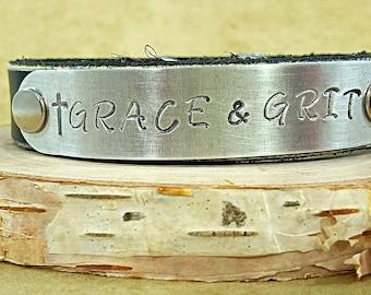 Grace & Grit Black Leather Cuff Bracelet - Women's Leather Cuff - Western Cuff Bracelets - Cowgirl Cuff - Rustic Bracelets - Leather Jewelry