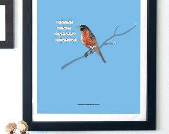 Robin Print - Song Bird Print - digital product - instant download