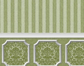 Dollhouse Miniature Wallpaper Damask Stripe Green Wainscot