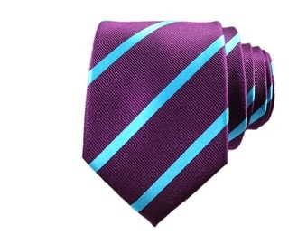 Candied Eggplant and Teal Striped Silk Tie