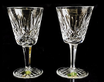 Pair of Waterford Lismore White Wine Glasses w/ ORIGINAL STICKERS