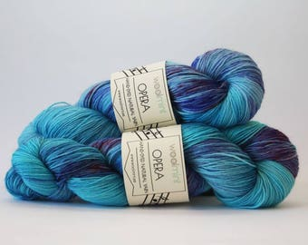 Hand dyed sock yarn, Hand dyed wool, Speckled yarn, Multicolor dyed wool, Nylon sock yarn