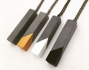 Geometric Concrete Cuboid Pendant Necklace