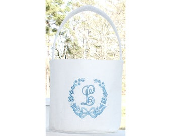 Flower Girl Basket Monogrammed Flower Girl Basket Wedding Decor Flower Girl Gift