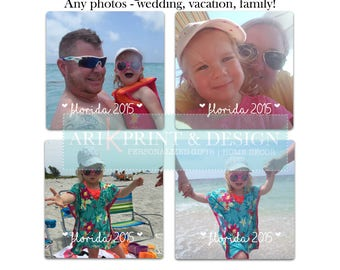 photos coasters | set of 4 coasters | sandstone coaters | photos | vacation photos | custom coasters | personalized coasters