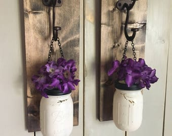 Rustic wall sconce | wood wall sconce | floral wall sconce | yellow wall sconce | wood sconce | floral sconce | wall sconce | mason jar