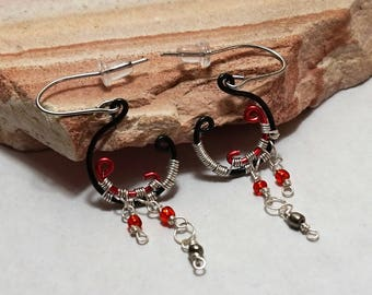 Industrial earrings, chandelier earrings, black and red earrings, beaded earrings, dangle earrings, wire wrapped earrings, wire jewelry
