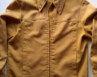 Vintage Work Coat 1960s MUSTARD Gabardine Jacket yellow size Small Medium
