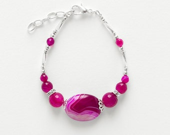 Bracelet Fuschia Agate