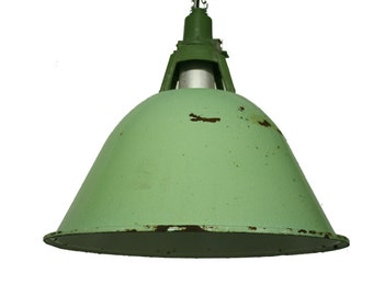 Very large industrial pendant lights - industrial lamps - factory lights - enamel pendant lights - enamel lamps - green lamp shade