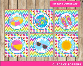 Pool Party cupcakes toppers; printable Pool Party toppers, Pool party printable toppers instant download