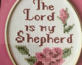 Wonderart The Lord is my Shepherd counted cross stitch kit with frame