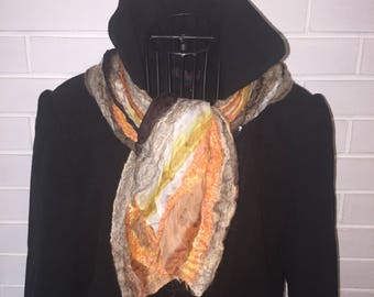 Beautiful nuno felted silk and merino wool scarf