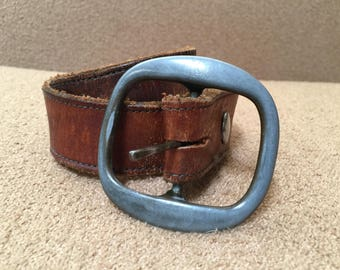 Vintage brown leather belt with pewter buckle