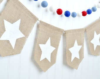 Patriotic Decor, 4th of July Garland, Stars Garland, 4th of July Decor, Patriotic Burlap Banner, July 4th Garland, Independence Day Decor