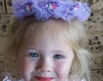 Bridal Flower Crown, Purple Bridal Halo Headpiece Ladies Girls Bridesmaid Flower Girl