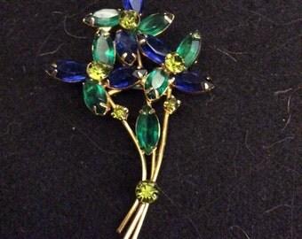 Vintage Floral Brooch with Multicolored Crystals