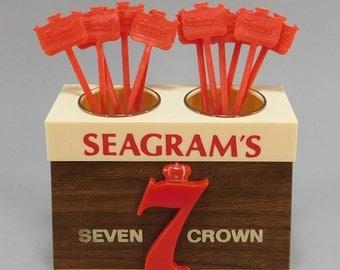 1960's Vintage Seagram's Seven Crown Display / Swizzle Stick Holder / Crown 7 Smirnoff Vodka Stir Sticks / Vintage Barware