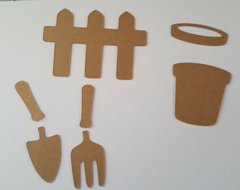 Gardening die cut set containing 7 dies. For card making, scrapbooking. Ideal for mother's day