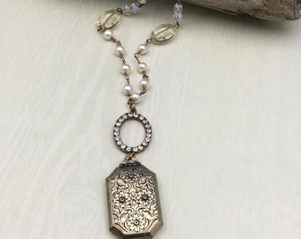 Locket necklace with beaded pearls and crystals, victorian style, gift for her, anniversary gift, pearl jewelry