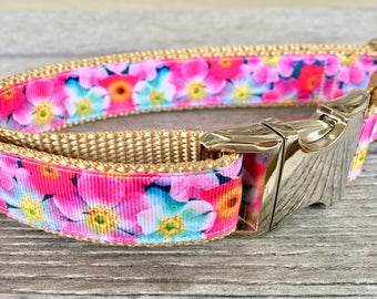 "Perfectly Pink Floral 1"" Dog Collar, Large Breed Dog Collar, Flowers Dog Collar, Romantic Dog Collar, Pink Flowers Dog Collar, Garden"