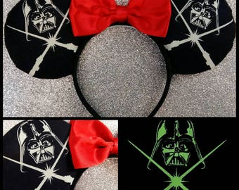Darth Vader Inspired Mouse Ears Headband and Bow
