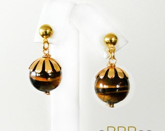 SPECIAL SALE!!!   20% OFF!!   Tiger Eye and Gold Plated 18K Earrings