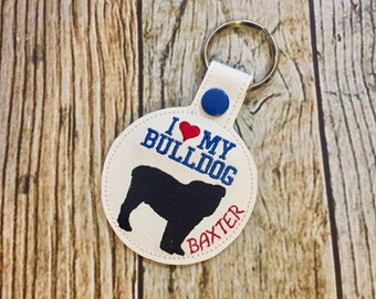 I Love My Bulldog Personalized Key Chain - Vinyl keychain snap key fob - Dog Owner Key Chain