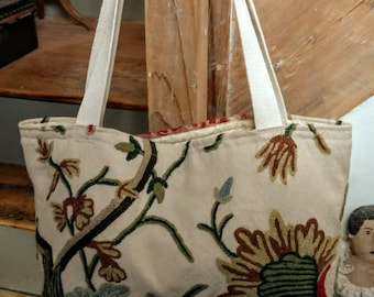 Crewel Tote Bag with lining.