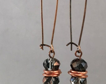 Bronze Czech Fire polished glass dangle earring
