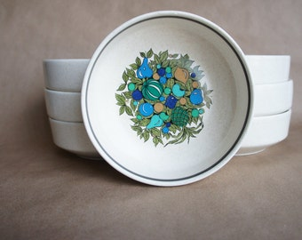 Vintage Lenox Temperware Fall Bounty Set of 7 bowls, Stackable Cereal bowls Turquoise and Green MCM Pineapple Motif