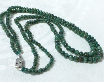 """Vintage Jadeite Double Strand Graduated Bead Necklace Forest Green Hangs 9 1/2"""""""