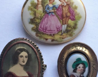 A Beautiful Lot of 3 Antique / Vintage Brooches - Victorian
