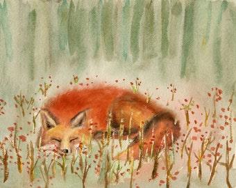 Sleeping fox,original painting,original watercolor painting,fox art,fox watercolor painting,animal painting,nursery decor