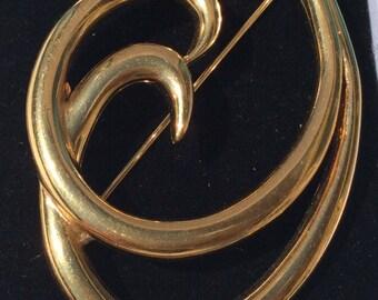 Signed Trifari Gold Coloured Brooch.